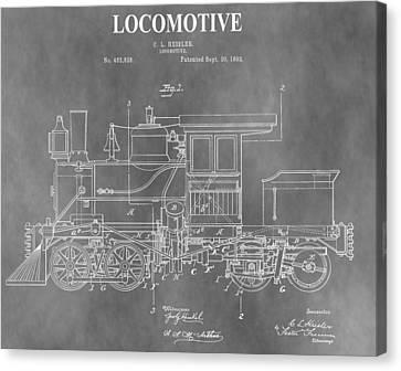 Antique 1892 Train Patent Canvas Print by Dan Sproul