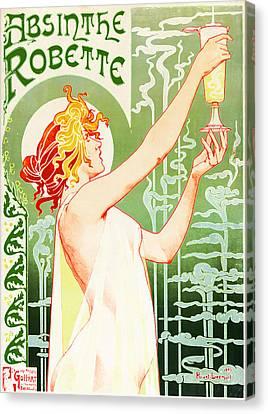 Antique Absinthe Robette Ad 3 Canvas Print by Jennifer Rondinelli Reilly - Fine Art Photography
