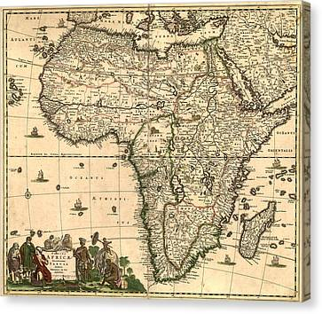 Antique Africa Map Canvas Print by Gary Grayson