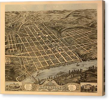 Antique Bird's-eye View Map Of Knoxville Tennessee 1871 Canvas Print by Mountain Dreams