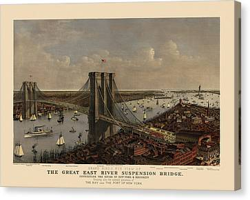 Antique Birds Eye View Of The Brooklyn Bridge And New York City By Currier And Ives - 1885 Canvas Print by Blue Monocle