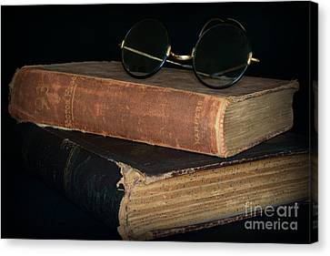 Antique Books  Antique Glasses Canvas Print by Paul Ward