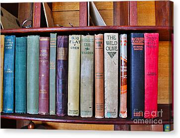 Antique Books On Shelf From 1860 Canvas Print by Janice Rae Pariza