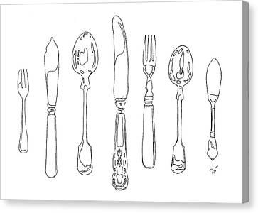 Antique Cutlery Full House Canvas Print by Roisin O Farrell