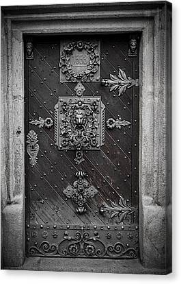 Antique Doors In Budweis Canvas Print by Christine Till