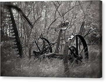 Antique Field Mower Canvas Print by Mary Lee Dereske