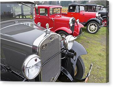 Antique Ford Automobiles At Ft Canvas Print by William Sutton