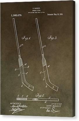Antique Hockey Stick Patent Canvas Print by Dan Sproul