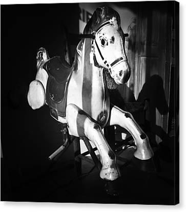 Antique Horse Bw Canvas Print by Patrick M Lynch