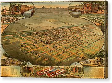 Antique Illustrative Map Of Phoenix Arizona 1885 Canvas Print by Mountain Dreams