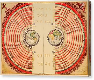 Antique Illustrative Map Of The Ptolemaic Geocentric Model Of The Universe 1568 Canvas Print by Mountain Dreams