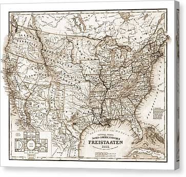 Antique Map 1853 United States Of America Canvas Print by Dan Sproul