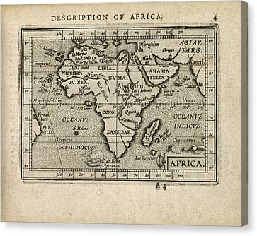 Antique Map Of Africa By Abraham Ortelius - 1603 Canvas Print by Blue Monocle
