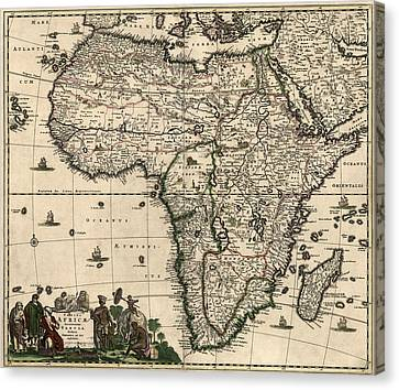 Antique Map Of Africa By Frederik De Wit - Circa 1688 Canvas Print by Blue Monocle