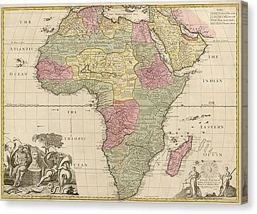 Antique Map Of Africa By John Senex - Circa 1725 Canvas Print by Blue Monocle