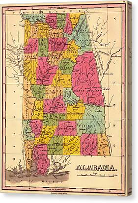 Antique Map Of Alabama 1833 Canvas Print by Mountain Dreams