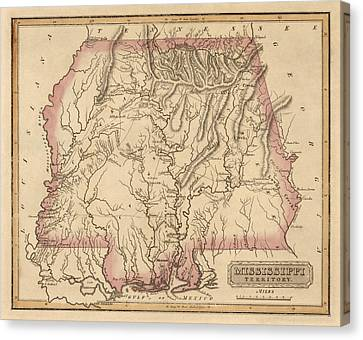 Antique Map Of Alabama And Mississippi By Fielding Lucas - Circa 1817 Canvas Print by Blue Monocle