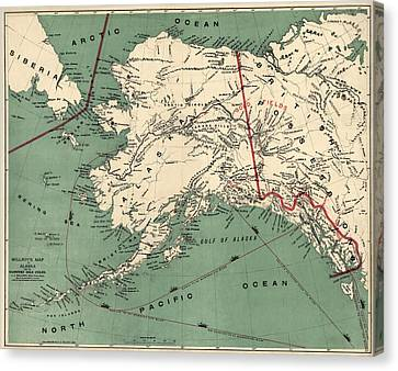 Antique Map Of Alaska By J. J. Millroy - 1897 Canvas Print by Blue Monocle