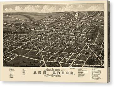 Antique Map Of Ann Arbor Michigan By A. Ruger - 1880 Canvas Print by Blue Monocle