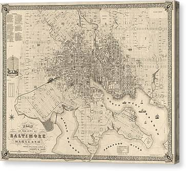 Antique Map Of Baltimore Maryland By Sidney And Neff - 1851 Canvas Print by Blue Monocle