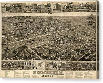 Antique Map Of Birmingham Alabama By H. Wellge - Circa 1885 Canvas Print by Blue Monocle