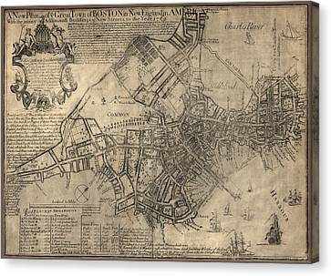 Antique Map Of Boston By William Price - 1769 Canvas Print by Blue Monocle