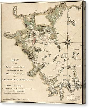 Antique Map Of Boston Harbor By Thomas Wheeler - Circa 1775 Canvas Print by Blue Monocle