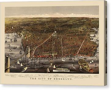Antique Map Of Brooklyn By Currier And Ives - Circa 1879 Canvas Print by Blue Monocle