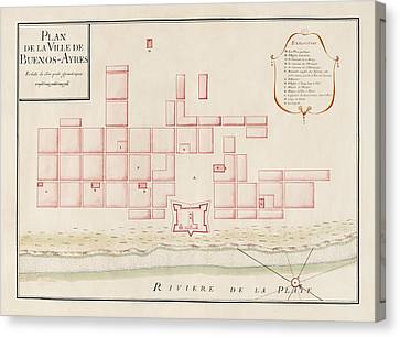 Antique Map Of Buenos Aires Argentina By Jacques Nicolas Bellin - Circa 1739 Canvas Print by Blue Monocle