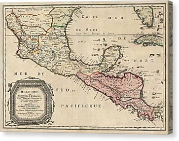Antique Map Of Central America By Nicolas Sanson - 1656 Canvas Print by Blue Monocle