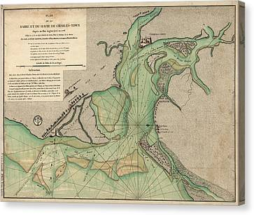 Antique Map Of Charleston Harbor South Carolina - 1778 Canvas Print by Blue Monocle