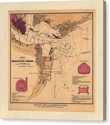 Antique Map Of Charleston Harbor South Carolina By W. A. Williams - Circa 1861 Canvas Print by Blue Monocle