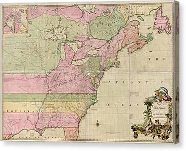Antique Map Of Colonial America By John Mitchell - 1755 Canvas Print by Blue Monocle