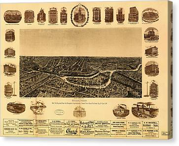 Antique Map Of Dallas 1892 Canvas Print by Mountain Dreams