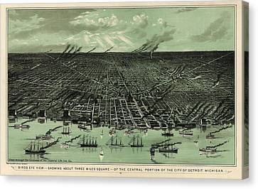 Antique Map Of Detroit Michigan - Circa 1889 Canvas Print by Blue Monocle