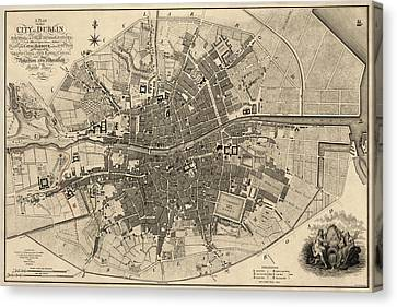 Antique Map Of Dublin Ireland By William Faden - 1797 Canvas Print by Blue Monocle