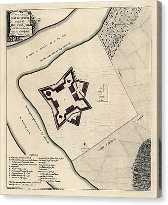 Antique Map Of Early Pittsburgh Pennsylvania By Thomas Jefferys - 1768 Canvas Print by Blue Monocle