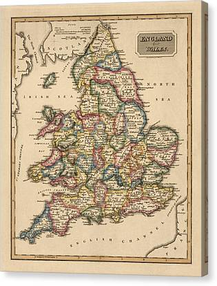 Antique Map Of England And Wales By Fielding Lucas - Circa 1817 Canvas Print by Blue Monocle