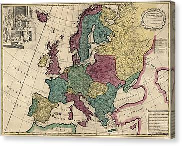Antique Map Of Europe By John Senex - Circa 1719 Canvas Print by Blue Monocle