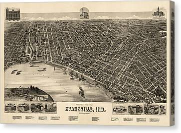 Antique Map Of Evansville Indiana By H. Wellge - 1888 Canvas Print by Blue Monocle