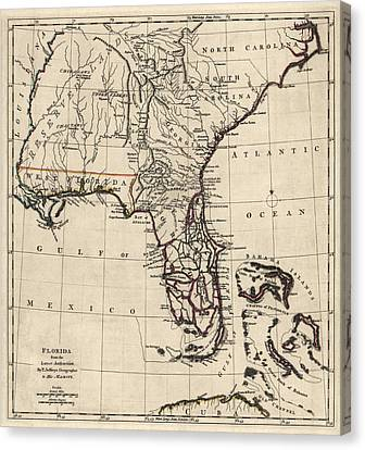 Antique Map Of Florida And The Southeast By Thomas Jefferys - 1768 Canvas Print by Blue Monocle