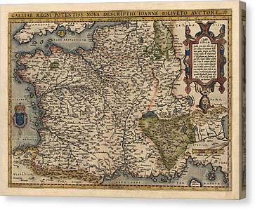 Antique Map Of France By Abraham Ortelius - 1570 Canvas Print by Blue Monocle