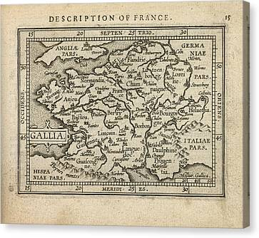 Antique Map Of France By Abraham Ortelius - 1603 Canvas Print by Blue Monocle