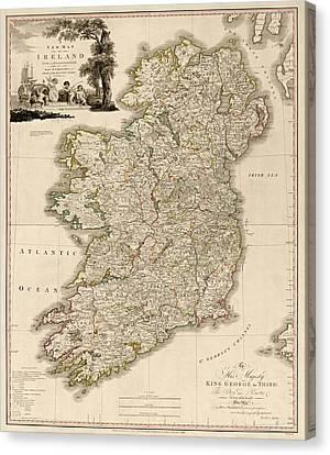 Antique Map Of Ireland By Daniel Augustus Beaufort - 1797 Canvas Print by Blue Monocle