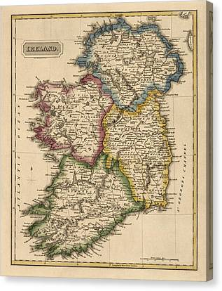 Antique Map Of Ireland By Fielding Lucas - Circa 1817 Canvas Print by Blue Monocle