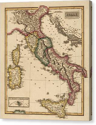 Antique Map Of Italy By Fielding Lucas - Circa 1817 Canvas Print by Blue Monocle