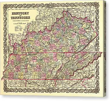 Antique Map Of Kentucky And Tennessee Canvas Print by Mountain Dreams