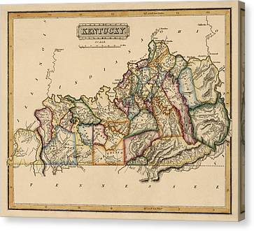 Antique Map Of Kentucky By Fielding Lucas - Circa 1817 Canvas Print by Blue Monocle