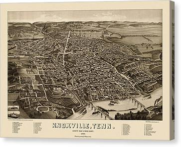 Antique Map Of Knoxville Tennessee By H. Wellge - 1886 Canvas Print by Blue Monocle