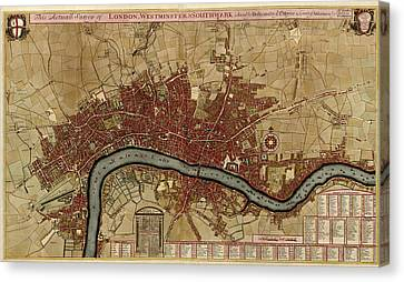 Antique Map Of London England By Robert Morden - 1700 Canvas Print by Blue Monocle